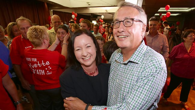 Labor's Redcliffe candidate Yvette D'Ath and and former Treasurer Wayne Swan celebrate.