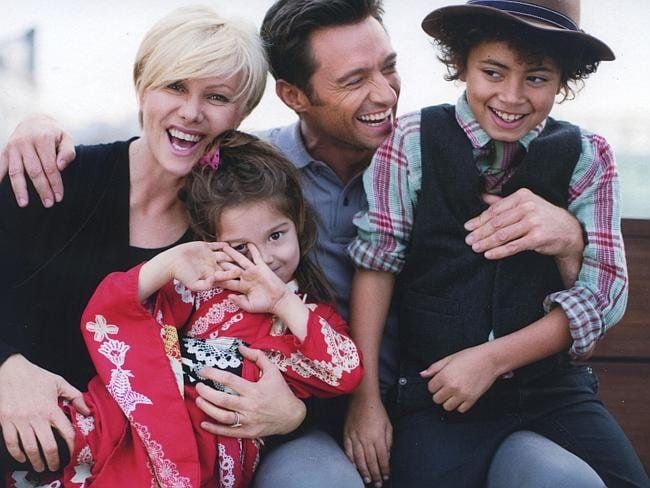 Happy family ... Deborra-Lee Furness, Hugh Jackman, and their children Ava and Oscar Picture: Supplied