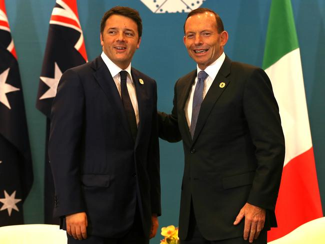The meeting before the meeting ... Italian Prime Minister Matteo Renzi held bilateral talks with Prime Minister Tony Abbott.