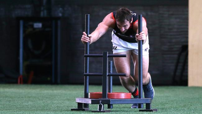 Jobe Watson back in training for Essendon. Picture: Wayne Ludbey