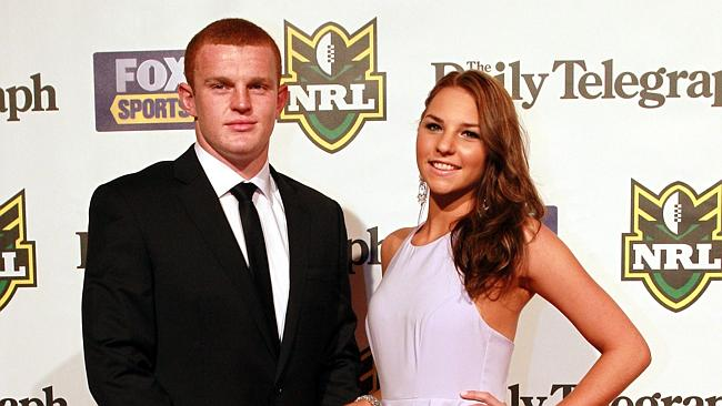 Engaged ... Alex McKinnon and Teigan Power / Picture: Nic Gibson