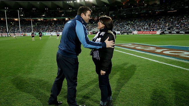Geelong v St Kilda at Simonds Stadium Geelong , Melbourne 27th July 2013, Cats coach Chris Scott with Bridget Ure the girlfeirnd of Casey Tutungi Picture: Petch Colleen
