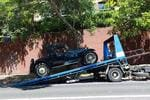 Yet another cool old car gets rolled off a truck for a shoot of The Great Gatsby film at Centennial Park, Cook Rd. Picture: Bob Barker