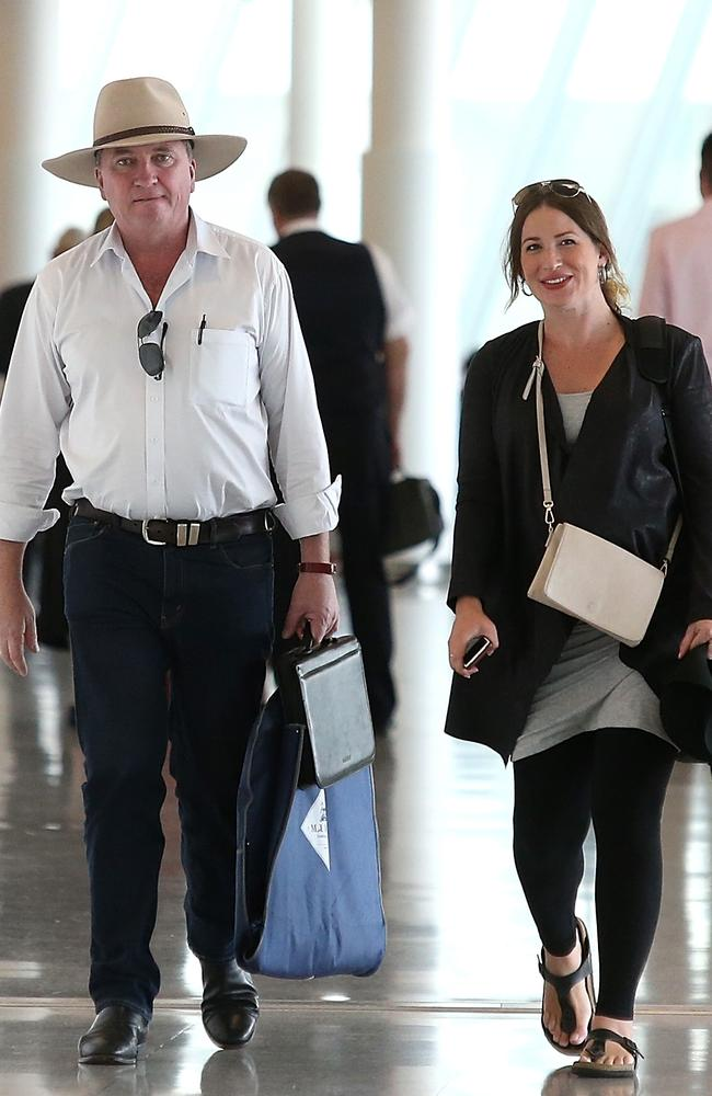 Former Deputy Prime Minister Barnaby Joyce and his pregnant partner Vikki Campion pictured at Canberra airport. Picture: Kym Smith