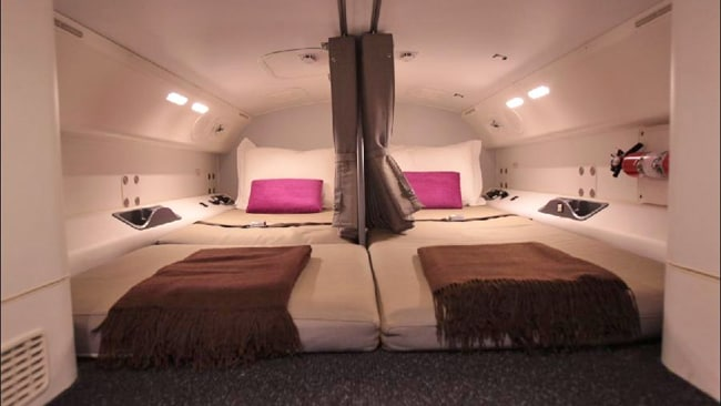 Even the beds for the crew are stunning. Picture: Ella Pellegrini
