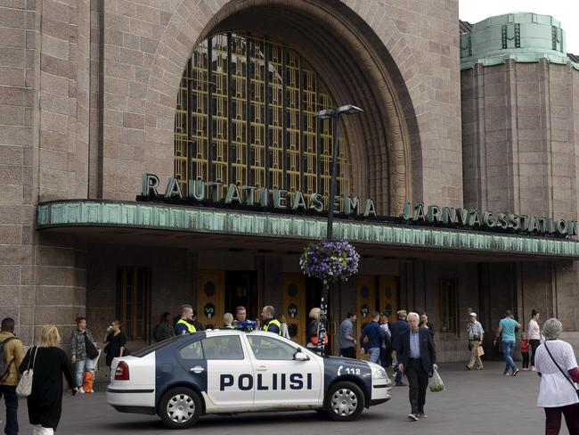 Finnish police patrols in front of the Central Railway Station in Helsinki. Picture: AFP