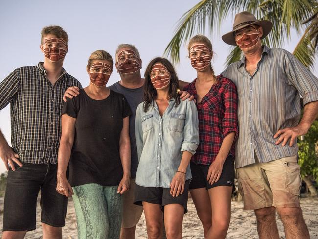 Comedian Tom Ballard, actor Nicki Wendt, TV personality Ian 'Dicko' Dickson, singer Natalie Imbruglia, former Miss Australia Renae Ayris and ex-One Nation politician David Oldfield on location in East Arnhem Land. Picture: David Dare Parker