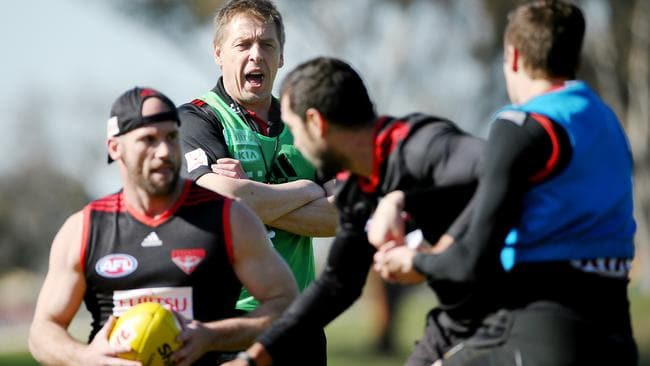 Coach Mark Thompson calls for more intensity at training. Picture: Colleen Petch.