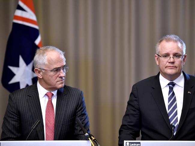 Prime Minister Malcolm Turnbull Treasurer Scott Morrison are trying to get the four big banks to be more accountable for their actions. Picture: Jason Edwards