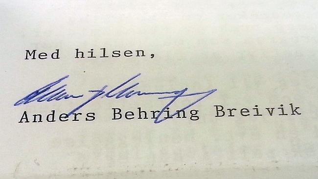 This photo shows Breivik's signature on the letter. Picture: AFP/Pierre-Henry Deshayes