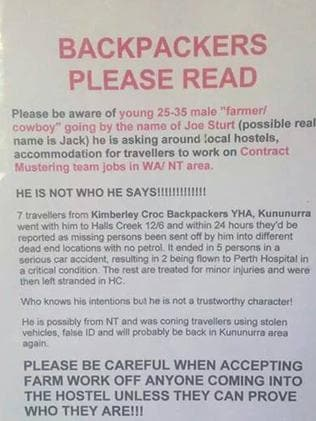 Warning to backpackers ... The poster put up at Kimberley Croc Backpackers YHA.