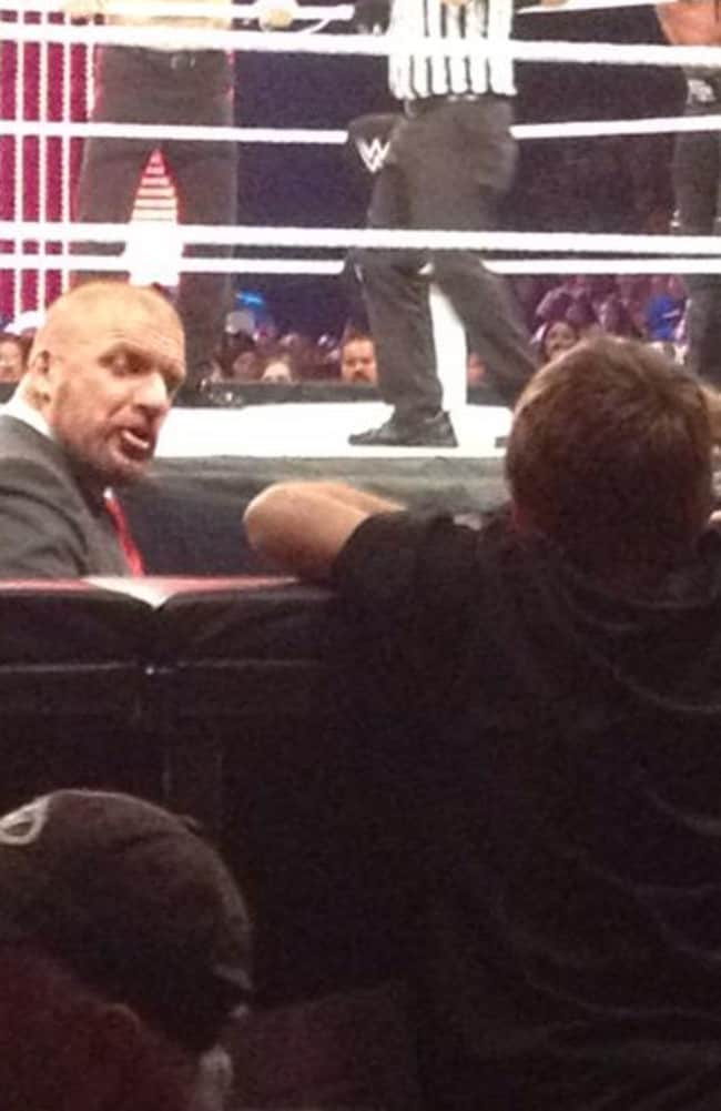 The little kid faces off with Triple H. Picture: @chrisolds2009