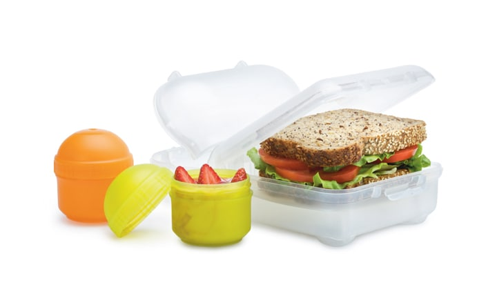 <p><b>Smash Nude Food Movers – RRP from $4</b></p>  <p><b>Pros:</b> There's a huge range of BPA-free plastic Nude Food Movers to choose from, so you can pick and choose the combination to suit your kids. You can buy this range in most Coles supermarkets, making it easy to add to your collection as you need. It's a lot cheaper than many lunch box options too. While the lunch boxes aren't leak-proof, the screw-lid snack tubes are. Most of the range is easy for young children to open and close.</p>  <p><b>Cons:</b> The designs can be bulky and difficult to find an insulated bag for (they do make bags that fit the products though). If your child has lots of different combinations, the washing up mounts up. The range can go into the dishwasher, but it's quite hard to fit the lunch boxes so they clean well.</p>