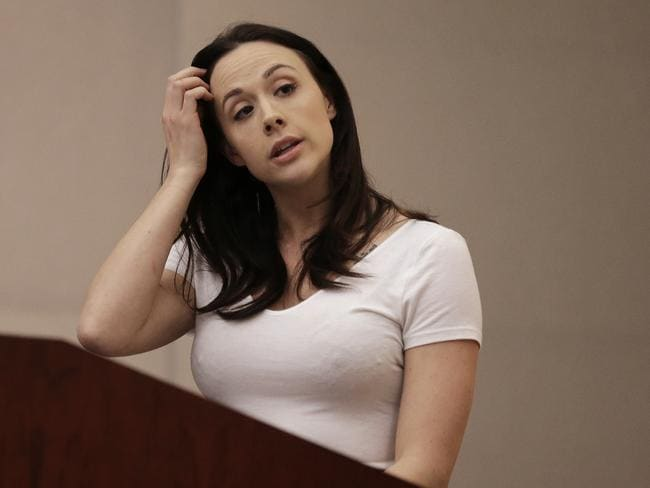 Adult Performer's Advocacy Committee president Chanel Preston puts her case against condoms at the Occupational Safety and Health Standards Board in Oakland, California. Picture: Ben Margot