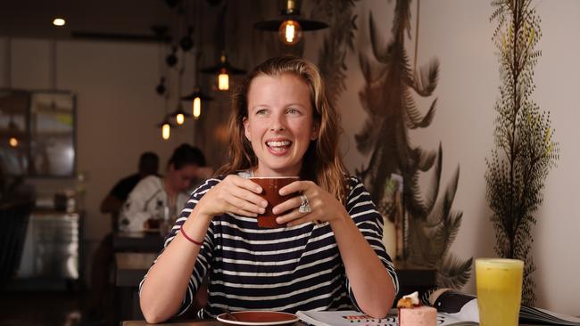 Sweet Brew manager Sophie Nelson drinks a hot chocolate while enjoying the cooler weather in Darwin Picture: KERI MEGELUS