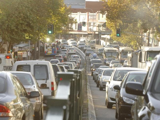 A traffic jam looking east at Neutral Bay in Sydney.