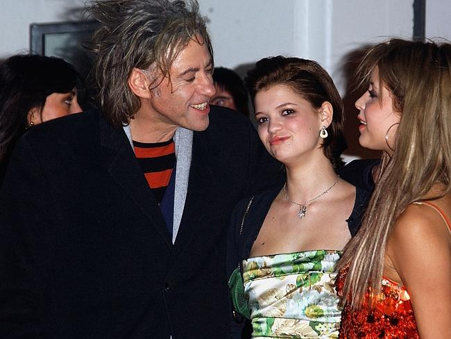 Better days ... Bob Geldof with daughters Pixie and Peaches Geldof at the 2005 BRIT Awards. Picture: Getty