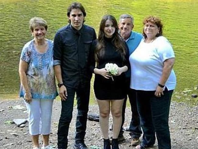 Steven Pladl and his heavily pregnant daughter Katie, flanked by her adoptive father Anthony Fusco and his wife, and Pladl's mother (left) at their wedding last June. Picture: Instagram