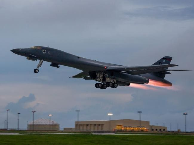 A US Air Force B-1B Lancer takes off from Andersen Air Force Base, Guam, to fly over the Korean peninsula in a recent show of force against North Korea's nuclear and missile threats. Picture: USAF