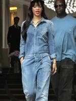 <p>Rihanna leaves her London hotel wearing a denim onesie and a studded cap. We're not sure if this one is a hit or a miss ... Picture: Snappermedia</p>  <p> </p>