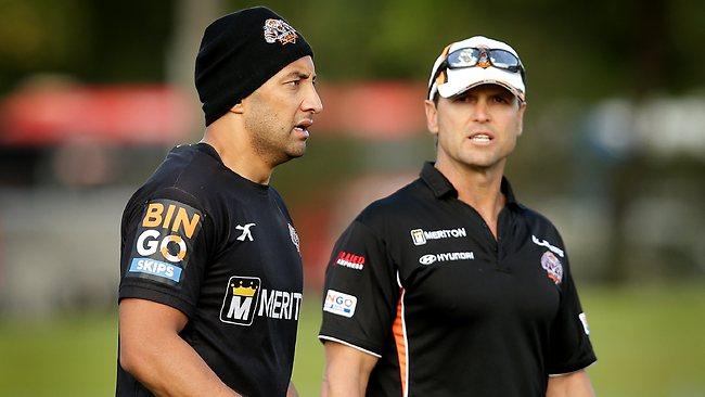 Benji Marshall and coach Mick Potter at Wests Tigers training at Concord Oval. Picture: Gregg Porteous