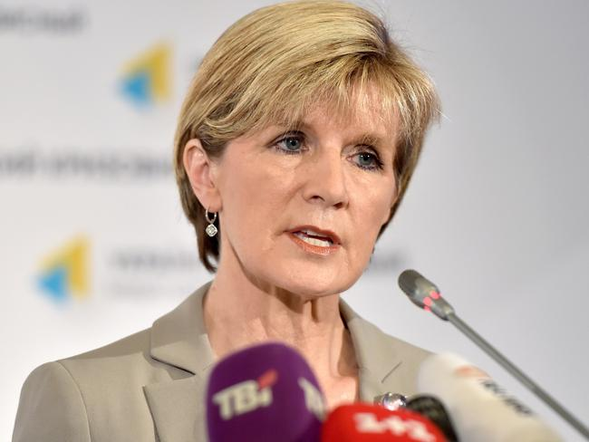 'We owe it to the families' ... Foreign Minister Julie Bishop has insisted Canberra won't be deterred by impediments getting to the MH17 crash site. Picture: Sergei Supinsky