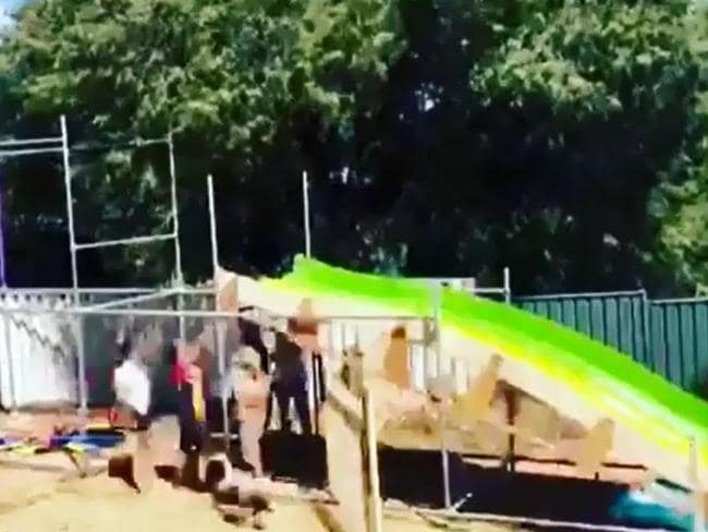 Time-lapsed video shows the mates building the giant waterslide