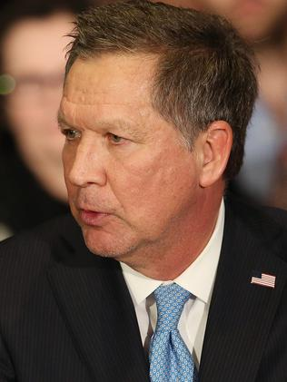 Ohio Governor John Kasich polled third in the New Hampshire primary but is seen as having not enough of a national profile to be a real contender. Picture: Andrew Burton/Getty Images/AFP.