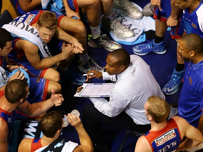 Wright talks to his troops. Picture: Sarah Reed.
