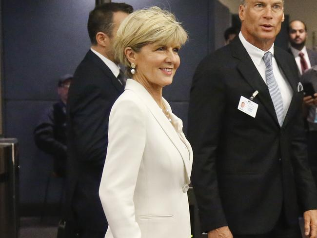 Julie Bishop and her partner David Panton at the United Nations in New York. Picture: Bebeto Matthews
