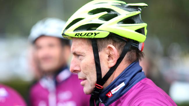 Time for action ... Prime Minister Tony Abbott takes part in the Pollie Pedal ride on Sunday.