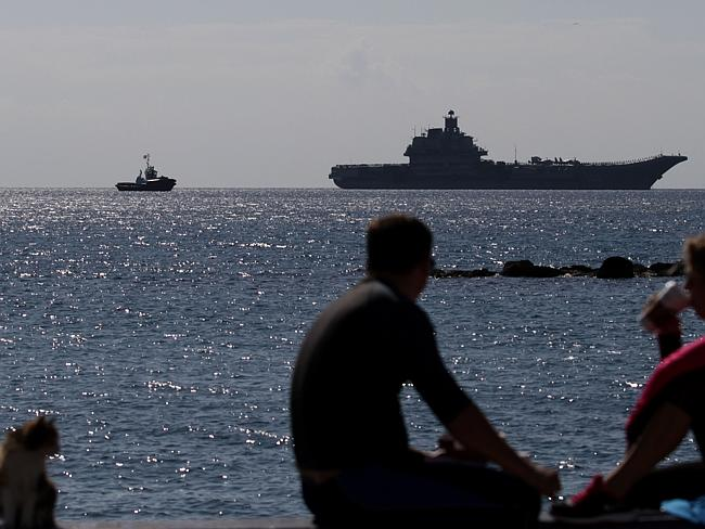Russian navy vessels moored off the coast of the town of Limassol, in the Meditteranean island of Cyprus on February 27, 2014. Picture: AFP