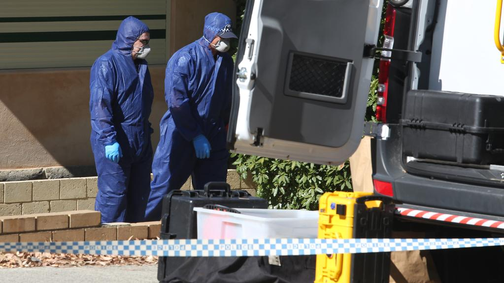 Forensic police officers at the Dianella scene. Picture: Bohdan Warchomij