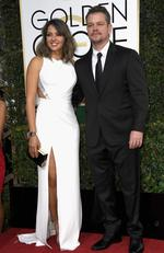 Luciana Barroso and Matt Damon attend the 74th Annual Golden Globe Awards at The Beverly Hilton Hotel on January 8, 2017 in Beverly Hills, California. Picture: Getty