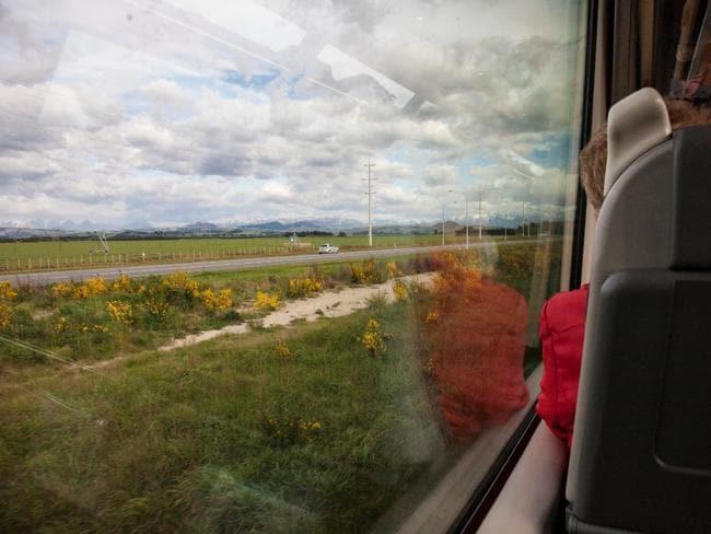 On board New Zealand's TranzAlpine rail journey.