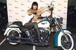 <p>Ruby Rose Langenheim at Fraser Motorcycles launch of their new showroom at Concord in Sydney.</p>