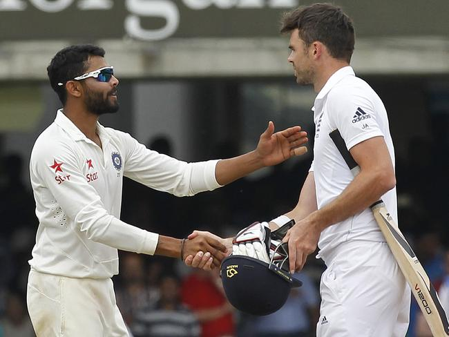 Jadeja and Anderson seemed on good terms at the end of the match. Picture: Ian Kington
