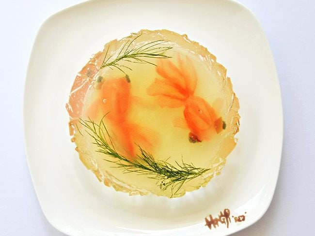 Goldfish float in their bowl. Picture: Hong Yi