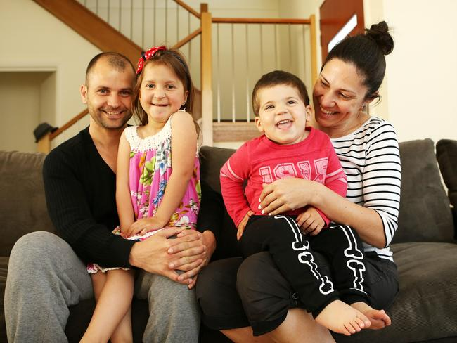 Happy family ... Jimmy and Jennifer Corbo with their children Gisele, 5, and Sebastian, 2. Picture: Tim Hunter