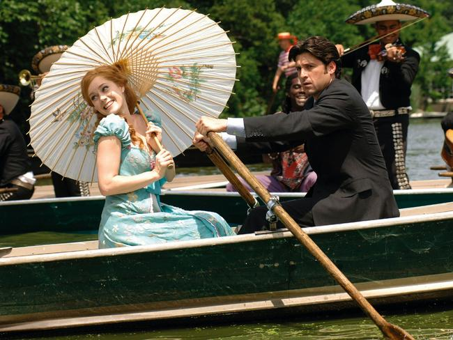 Actors Amy Adams and Patrick Dempsey in a scene from the 2007 film 'Enchanted'.
