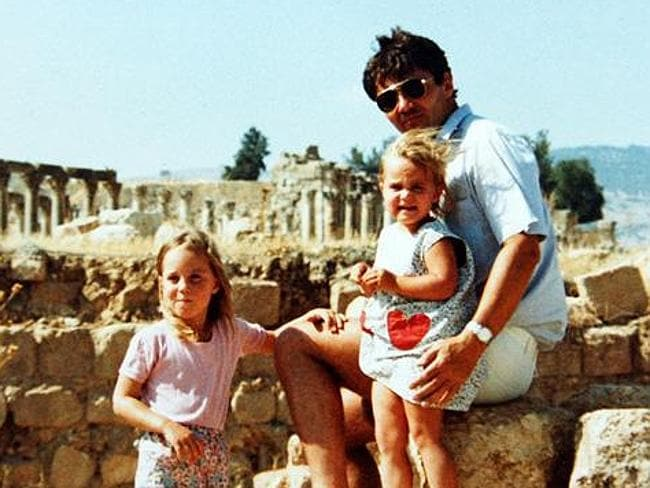Middle Eastern childhood ... Kate Middleton at 4 with younger sister Pippa and father Mic