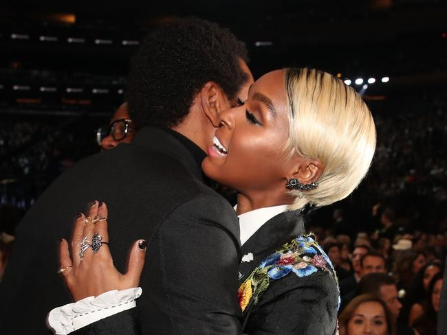 Janelle Monae hugs rapper Jay Z at the Grammys in January. Picture: Christopher Polk/Getty Images for NARAS