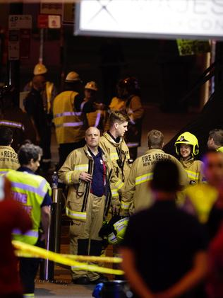 Fire officers arrive last night. Picture: Jenny Evans