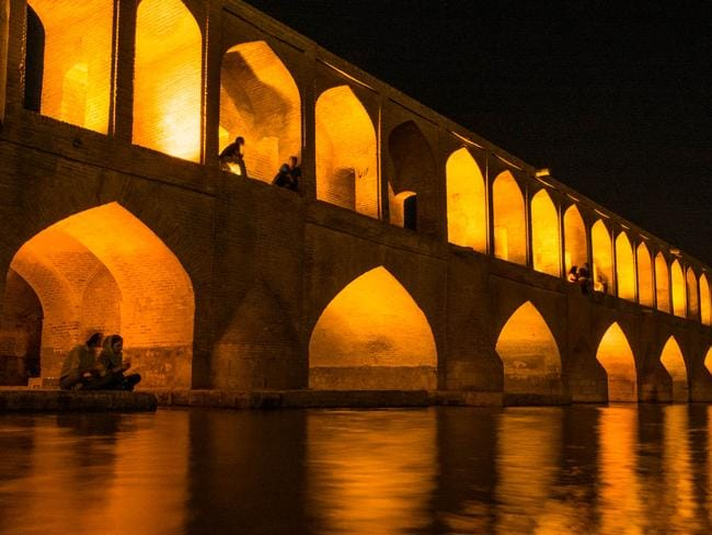 At the Si-o- seh pol bridge in Esfahan. Picture: Lost With Purpose