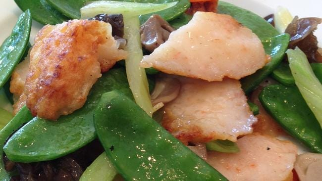 Wah Hing's prawns and snow peas is one of Jacqui's favourite dishes.