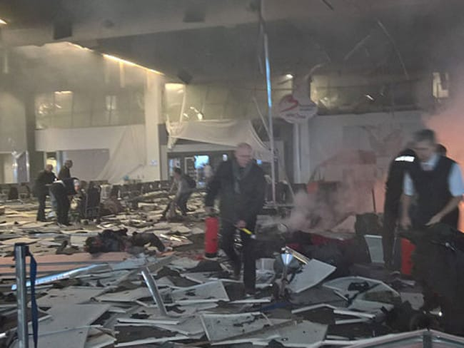 Inside after the horrific explosion. Picture: Twitter.