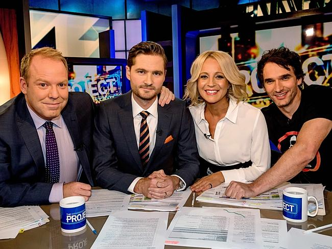 Pickering (second left) with co-hosts Peter Helliar, Carrie Bickmore and Todd Sampson.
