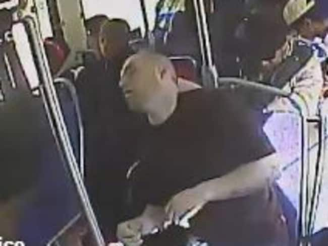 Meeney passes out on the bus after shooting up heroin. Picture: Twitter/Upper Darby Police