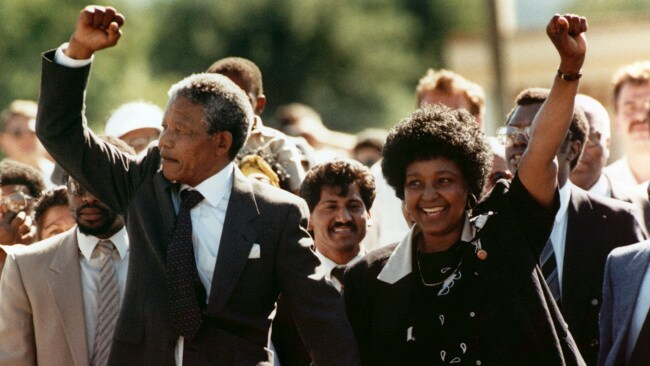 The world watched as Nelson Mandela and wife Winnie walked hand-in-hand upon his release from Victor prison, Cape Town after 27 years. Photo: AP