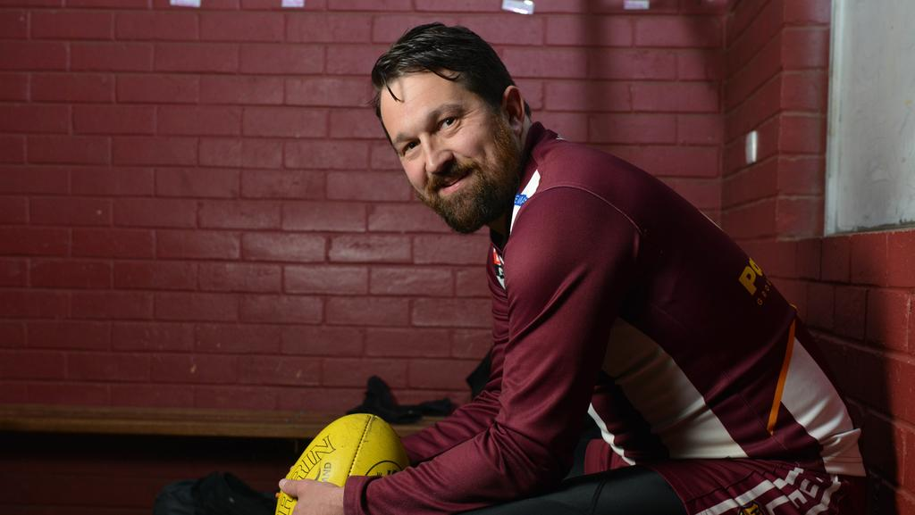 Former Crows player Chris Ladhams in the Nairne Bremer United Football Club change rooms. Picture: Brenton Edwards/AAP